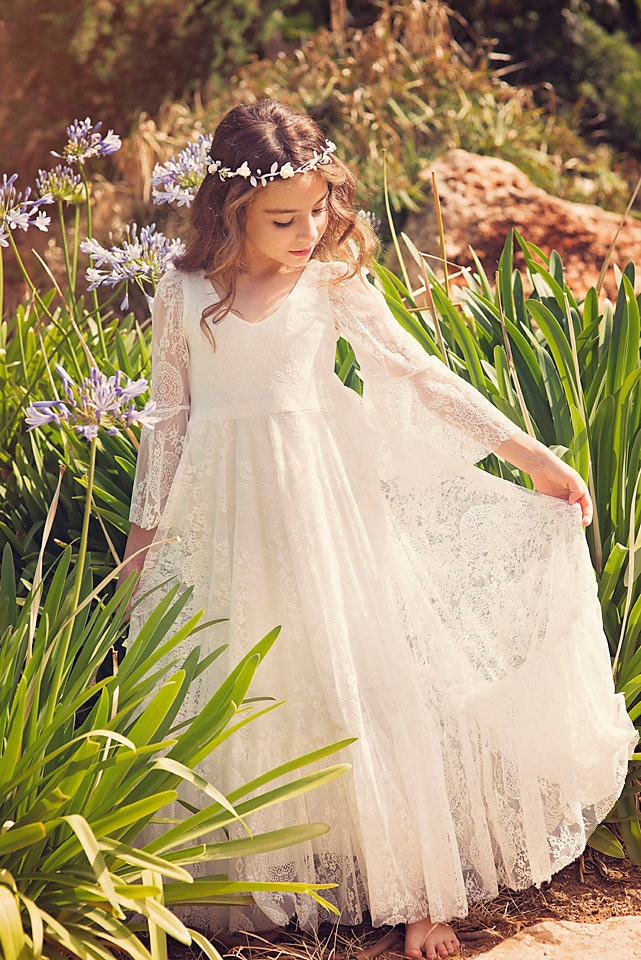 First Communion Dress Flower Girl Off White Lace Dress