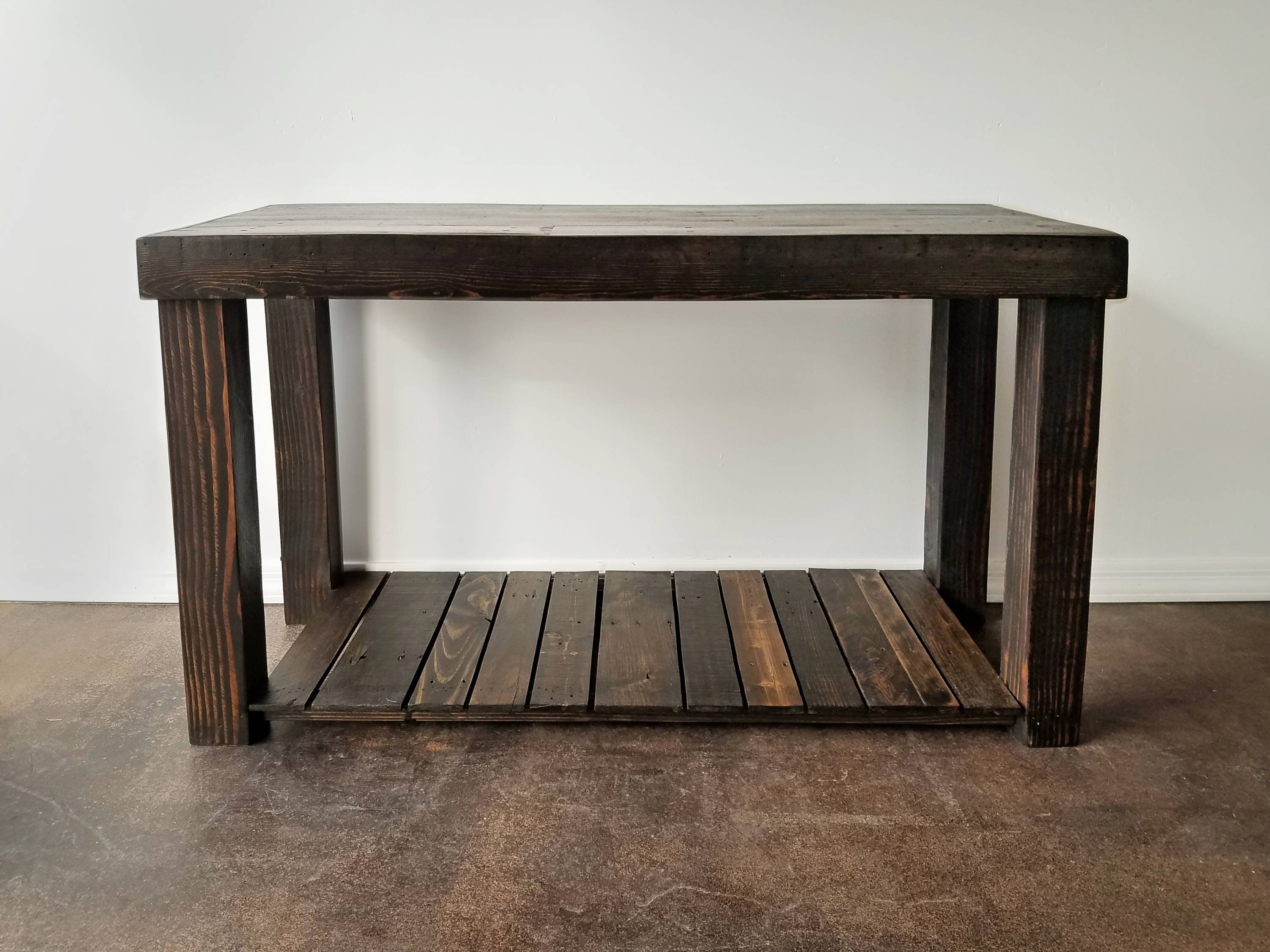 Reclaimed Espresso Coffee Wood Console Accent Sofa Entryway ~ Sofa Server Accent Table