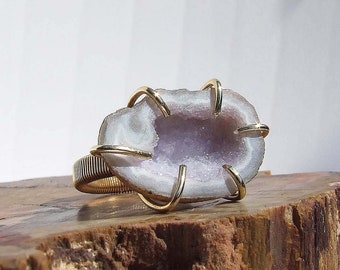 Amethyst Druzy Geode Ring, prong set natural stone, small finger, midi ring