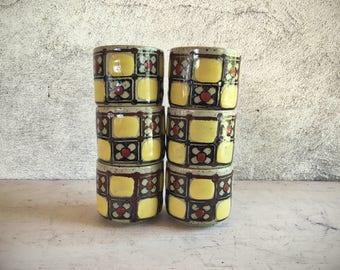 Six vintage Otagiri stoneware yellow and brown handleless tea cups Japanese ceramic midcentury drinkware