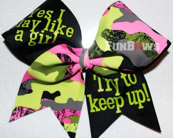 Play Like a Girl - Softball or Soccer Camo Bow -   By FunBows !