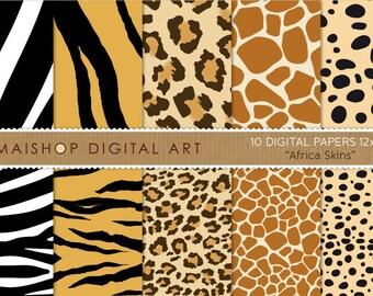 Digital Paper 'Africa Skins' Cheetah Print, Leopard Print, Zebra, Tiger, Giraffe... for Printing, Scrapbooking, Invites, Cards...