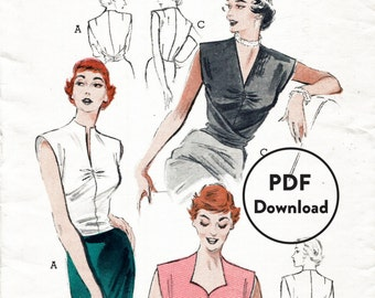 1950s 50s vintage sewing pattern reproduction blouse top cinched tie waist wrap around Bust 34 B34 Instant Download