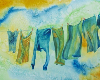 Clothesline Painting. Original Watercolor Clothesline. Denim jeans laundry. Retro Laundry, Country Life, OOAK art, 12x18in. Not a print!