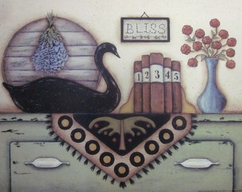 Black Swan Still Life Print. Bliss. Penny Rug. Books. Lavender. Chippy Cupboard. Country cottage farmhouse, primitive folk art, Donna Atkins