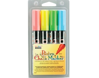 Uchida Color Liquid Chalk Marker Pen 4 Pack; 6mm Bullet Point Tip; Cafe Bistro Chalk Marker, 480-4A