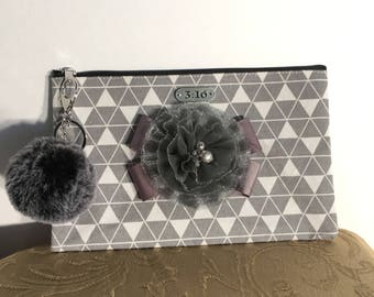 Lovely Grey clutch with flower and Faux fur closure-#1052
