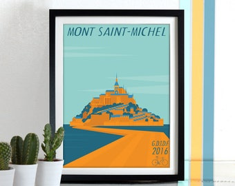 Grand Depart Tour De France Mont Saint-Michel 2016 Bicycle, bike, cycling, cycle, bikes, bicycles Poster Wall Art Print Home Décor