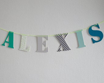 """Made to order - Garland of letters in paper """"ALEXIS"""""""