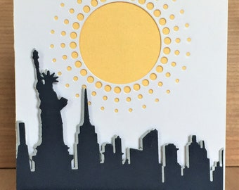 Handmade Greeting Card New York Themed-NY City Landscape Card with Skyscrapers and Statue of Liberty