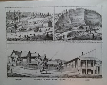 Ranch, Mine and property in Idaho City, Idaho Territory. 1884 Lithograph