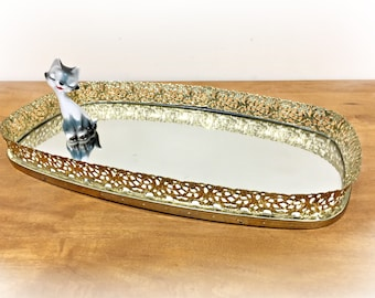 Gold Filigree Vanity Tray Gold Mirror Tray NOS