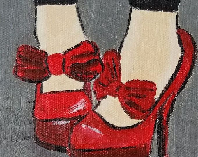 Fashion Red High Heels - Acrylic painting - clearance sale