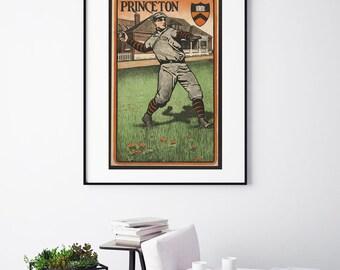 Princeton University - Man Playing Baseball - Vintage Print - Collegiate Collection
