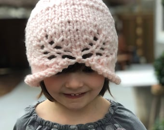 Girls Pink knitted hat, Girls hat,Chunky knit hat