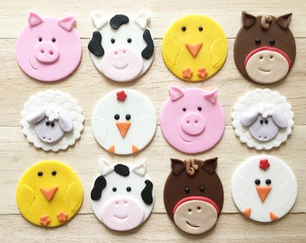Farm animal cupcakes, fondant toppers, barn animal, animal cupcake toppers, first birthday, baby shower, cow cupcakes, pig cupcakes, horse