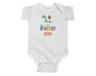 My First Easter Infant Fine Jersey Snap Bodysuit, Baby Shower Gift, Gift for Baby, Easter Clothing, Baby's First Easter, Custom Infant Wear