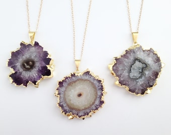Amethyst Slice Necklace - Long Gold Necklace - Free Form Stalactite