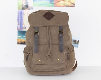 Brown Canvas Backpack