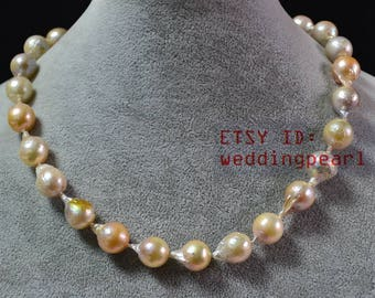 genuine pearl necklaces,11-12mm multi-color freshwater pearl necklaces, women jewelry,mother day's present,baroque pearl necklaces