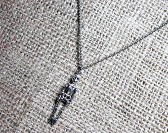 Human Skeleton Silver Necklace - Pendant on Stainless Steel Curb Chain