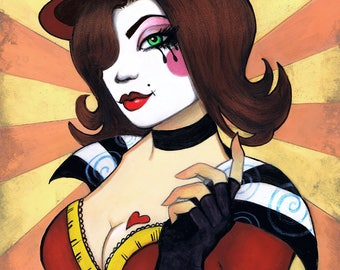 "Original Painting ""Mad Moxxi"" of Borderlands 8x10 Framed"