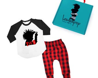 ROCKSTAR KIT Toddler Mohawk raglan shirt with red plaid pants & optional gift box
