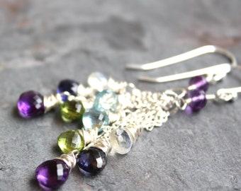 Multi Gemstone Earrings Sterling Silver Amethyst Iolite Peridot Blue Topaz Moonstone, Art Deco