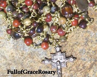 MASCULINE ROSARY Bronze, Brecciated Jasper, Catholic, Unbreakable Rosary