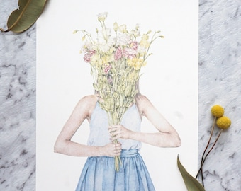 Fashion Illustration Print, Flower Girl Art, Wildflower Illustration Print, Mother's Day Gift, Girl with Wildflowers Bouquet Art Print