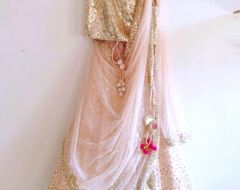 Sequin lehenga and gold sequin blouse in custom colors