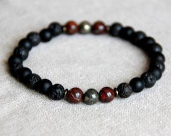 Bracelet is natural 6mm - black Agate matte beads, lava stone, Jasper brechia, pyrite, hematite rondelle