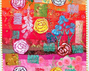Wall Hanging Art Quilt Garden Tapestry Roses Foxgloves Pink Yellow Red Iris Violets Yellow Stripe Border Sunny Happy Glorious Spring Garden!