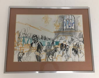 Original pen and ink, graphite, marker and chalk drawing on paper by UK artist Feliks Topolski