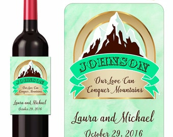 Custom Wedding Wine Labels Personalized Mountain Love Designer Labels Waterproof Vinyl 3.5 x 5 inch