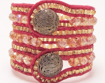 7 Row Cuff, Topaz Czech Glass, Gold Glass Pony Beads, Two Button Cuff, Red Leather, High Fashion