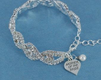 BRACELET Mother Of The Bride, Beautiful Rhinestones With Genuine Swarovski Pearl & Personalized Sterling Silver Charm. CUSTOM HANDMADE!