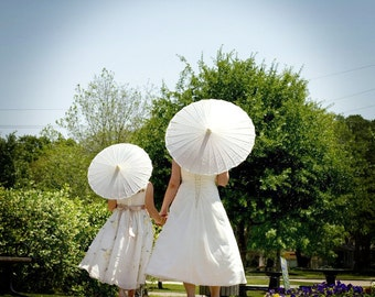 Plain White or Ivory Fabric Parasol - Great for Weddings as Favors or - DIY Thank You Parasol