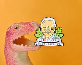 David Attenborough Enamel Pin badge - Soft Enamel Lapel Pin. Quirky illustration. Perfect funny gift for nature lover, playful, colourful