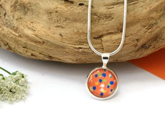 Dainty Necklace - Orange Necklace - One of a Kind - Gift For Her - Unique Necklace - Original Painting - Handmade Jewelry - Abstract Art