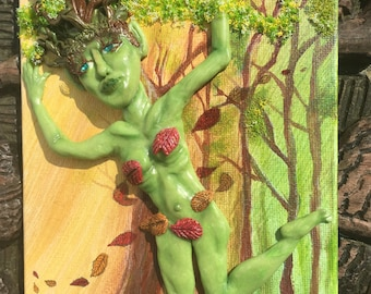 Wood Nymph Sculpted Painting