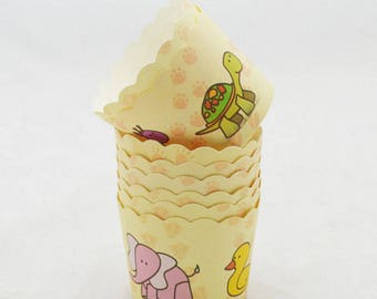 12 pcs/Set Baby Animal Cupcake Liner Baking Cup/ Cupcake Paper Muffin/ Candy Cups