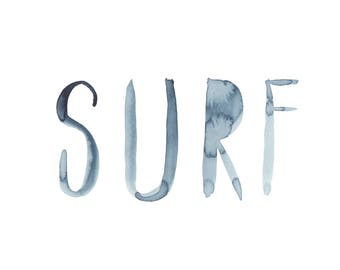Surf Wall Print / Indigo Surf Wall Decor / Boys Room / Nursery Decor