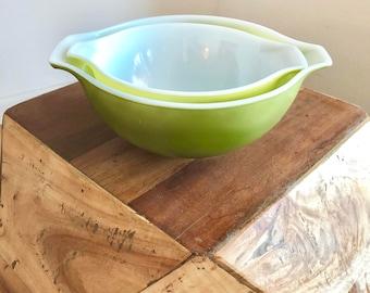 Pair of Verde Green Nested Pyrex Cinderella Bowls