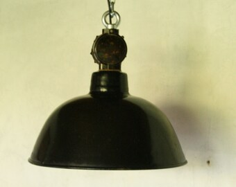 industriel bauhaus enamel pendant lamp