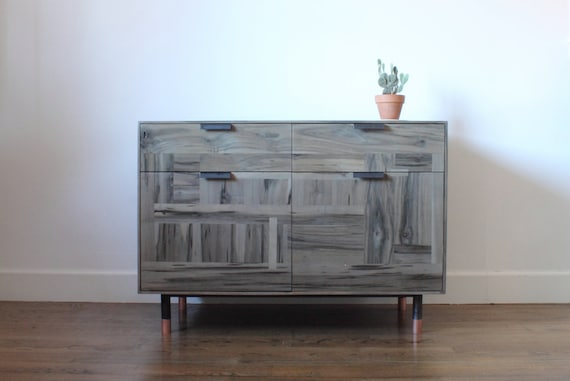 & Patchwork Maple Wine Storage Credenza oxidized maple
