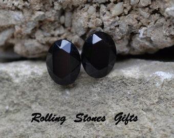 8x6mm Jet Black Swarovski Oval Rhinestone Stud Earrings-Small Jet Black Crystal Oval Stud Earrings