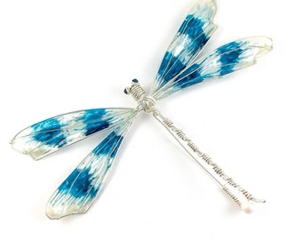 Dragonfly. Dragonfly brooch.  Turquoise  and pearl Brooch, Jewelery. Pin brooch. Birthday gift.
