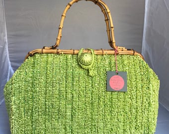 X-Large Vintage 1950's/1960's Bright Lime Green and Gold Rafia Purse with Bamboo Handles