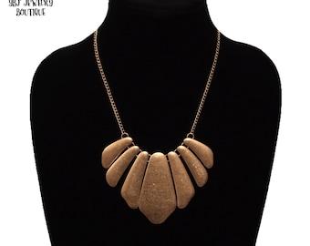New Burnished Gold Bib Statement Necklace